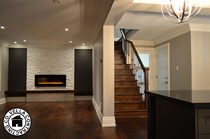 Kitchen cabinets hardwood flooring moulding trimwork house home stairs